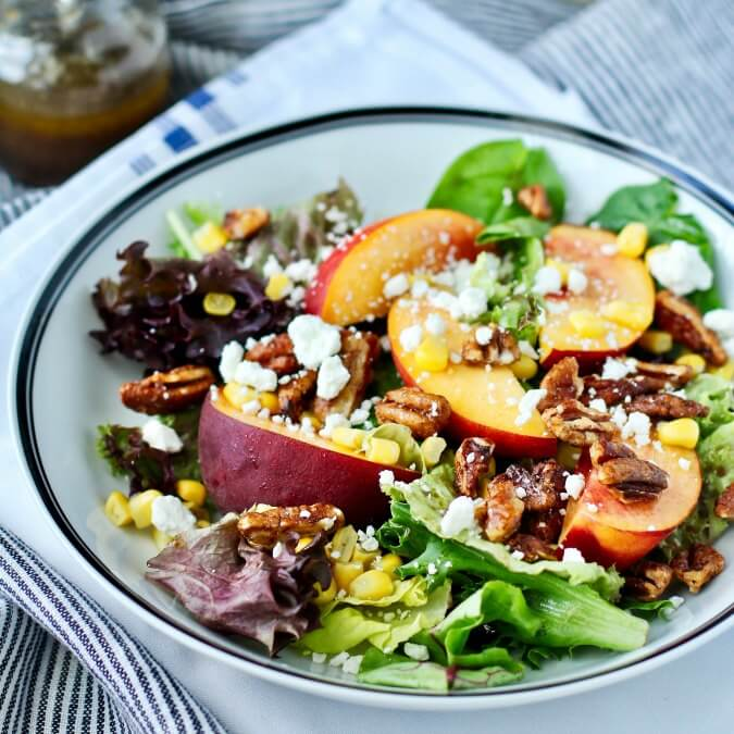 Mixed Greens, Peach, and Corn Salad