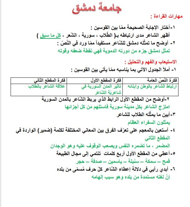 حل درس شاعر ووطن , اللغة العربية,للصف السابع,الفصل الاول