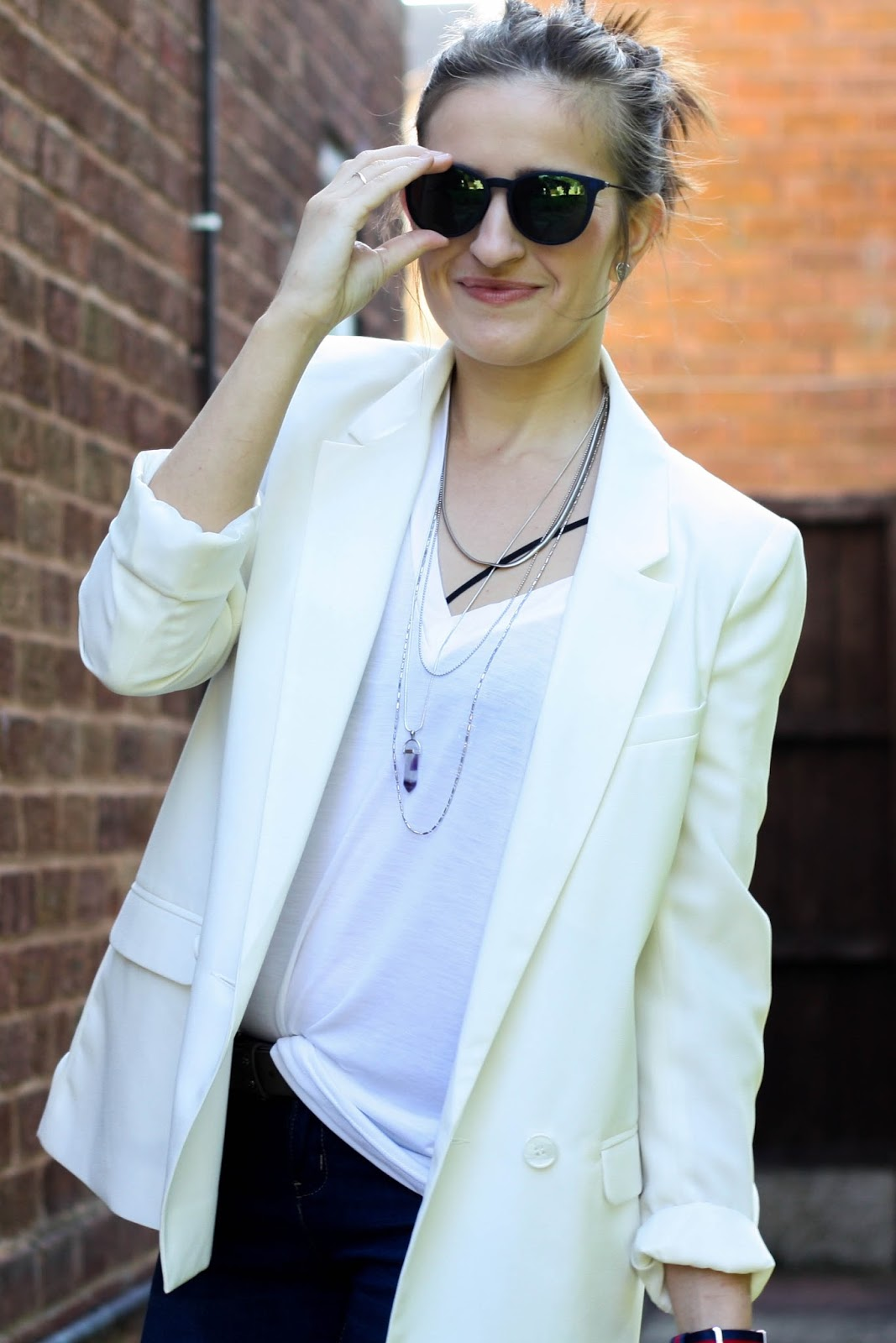 White blazer & tiny bag