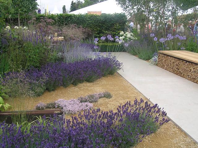 lawenda, nowoczesna ławka ogrodowa