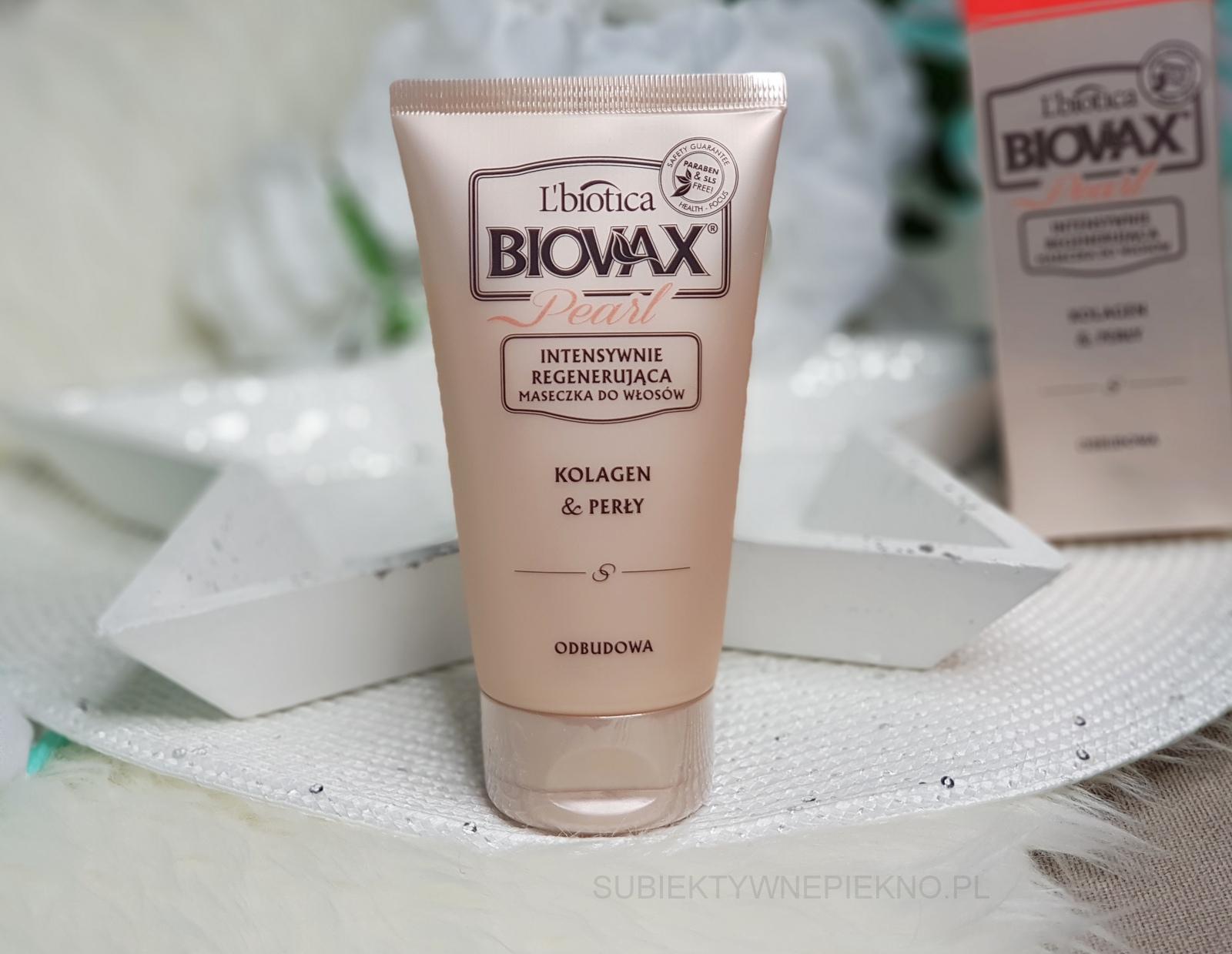 Intensywnie regenerująca maseczka do włosów L'Biotica Biovax Pearl Kolagen i perły