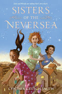 Cover image of Sisters of the Neversea which shows the siblings in the story. There are two sisters and one much smaller brother.
