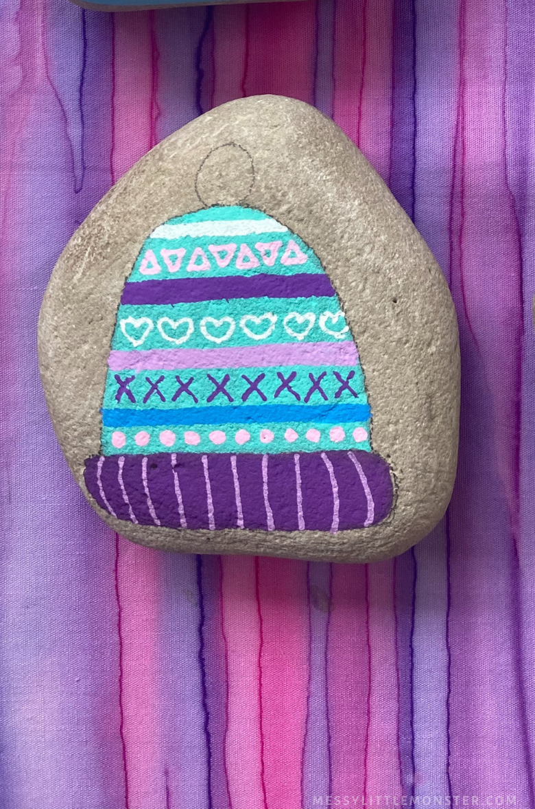 rock painting winter hat craft