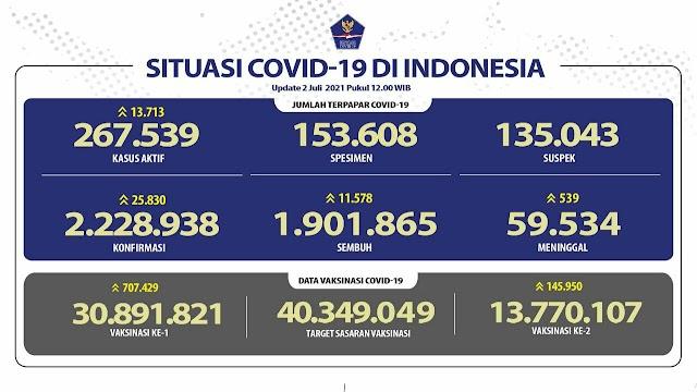 (2 Juli 2021 pukul 14.00 WIB) Data Vaksinasi Covid-19 di Indonesia