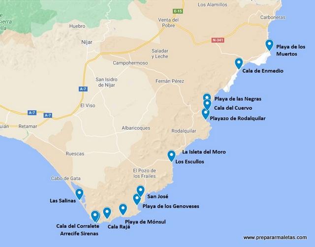 mapa con las mejores playas de Cabo de Gata