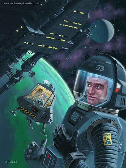 science fiction spaceman planet art M P Davey