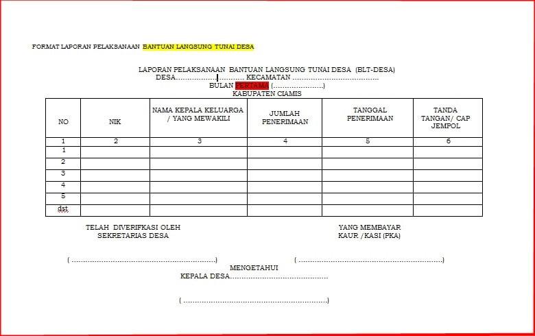 Format Laporan Pelaksanaan BLT Dana Desa - Juragan Desa