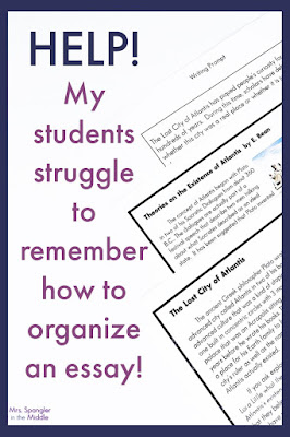 Use this essay organization hack with your middle school students to help them remember what goes where when they write an essay!