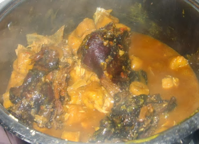 Nigerian unripe plantain porridge with meat and fish for Healthwise fish oil