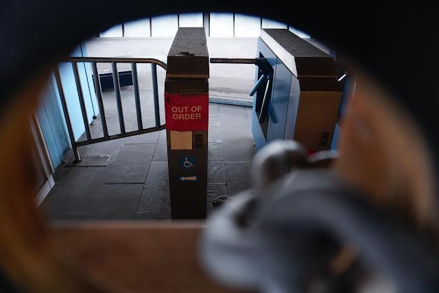 Abandoned Harborside Monorail Station interior (turnstiles)