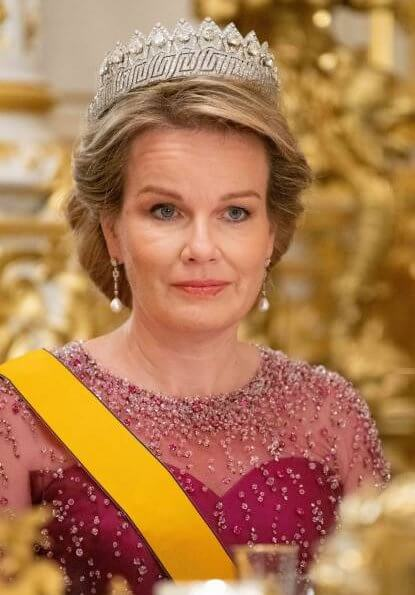 Queen Mathilde diamond tiara, Maria Teresa diamond earrings, Princess Stephanie diamond tiara onyx. Mathilde fuchsia gown