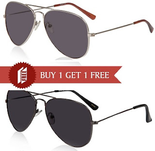 Floyd Opulent Silver & Grey Lens Sunglasses (Buy 1 Get 1 Free) worth Rs.2500 for Rs.399 Only Free Home Delivery