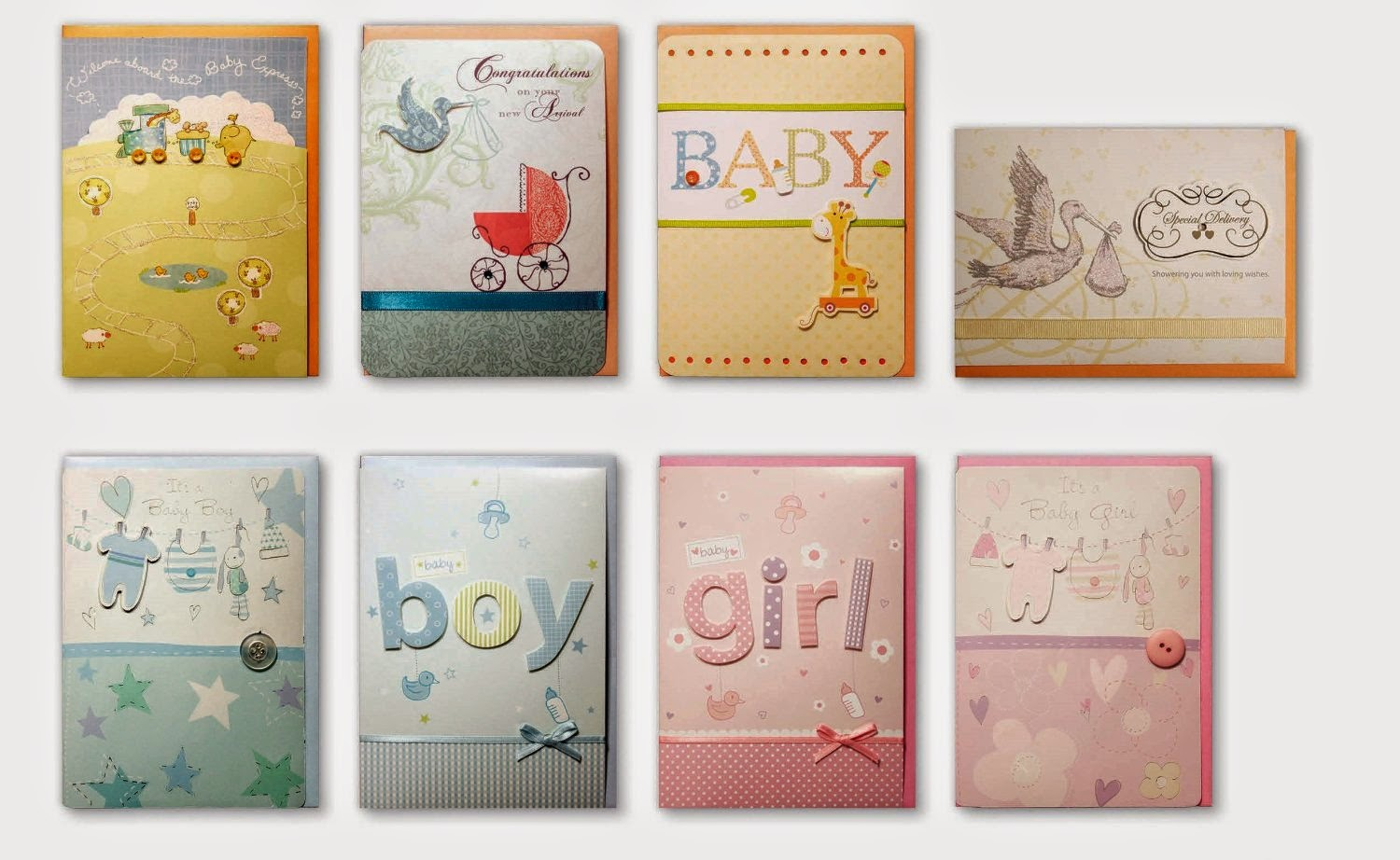 assortment greeting cards for boy or girl birth shower card