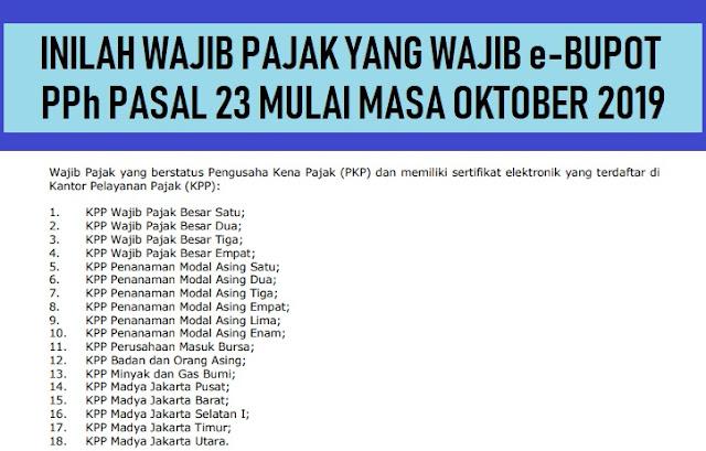 Daftar Wajib Pajak Wajib e-Bupot PPh Pasal 23 Mulai Masa Oktober 2019
