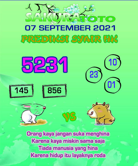 Syair HK Selasa 07 September 2021 -