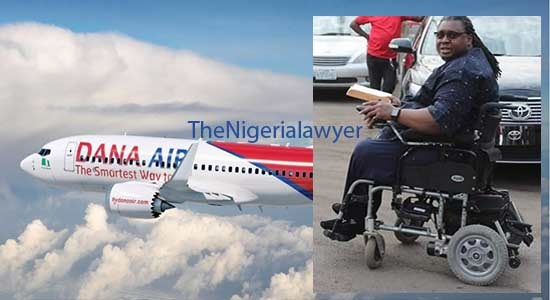 Dana Air Denies Discriminating Against Dr. Okogwu On Wheelchair, Says Preventing Him From Boarding Flight Was For Interest Of Safety