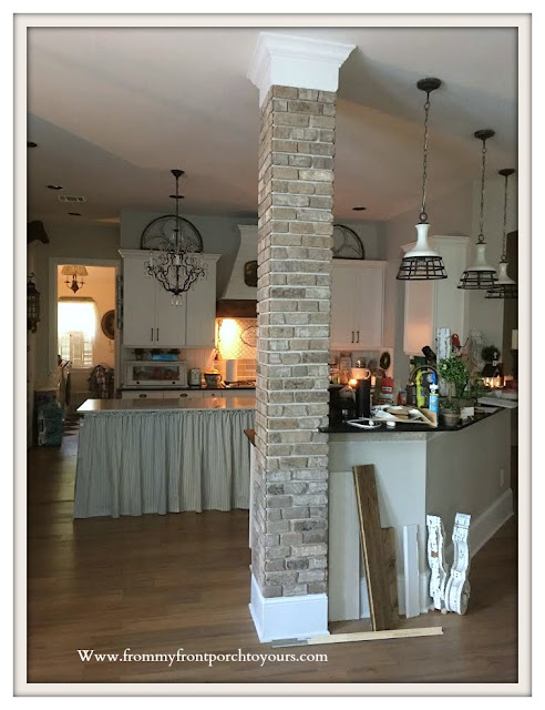 DIY -Brick- Project-French-Country-Farmhouse-Style-Thin-Brick-Kitchen-Column-From My Front Porch To Yours