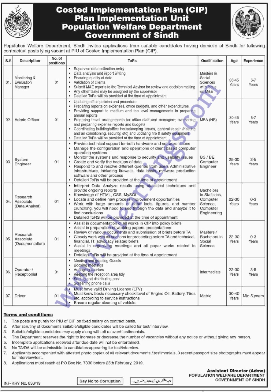 Job in Population Welfare Department Government of Sindh
