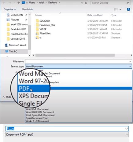 كيفية تحويل البحث إلى PDF عن طريق البرنامج الذي تستخدمه