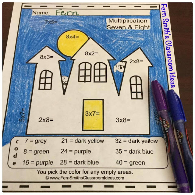 Fern Smith's Classroom Ideas Color By Numbers Halloween Costumed Kids Multiplication and Division Bundle at TeachersPayTeachers.