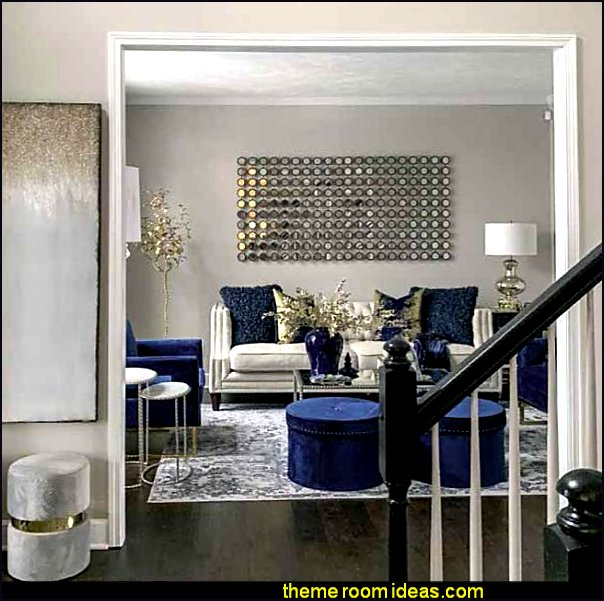 glam style blue gold luxe glam mirrored decor
