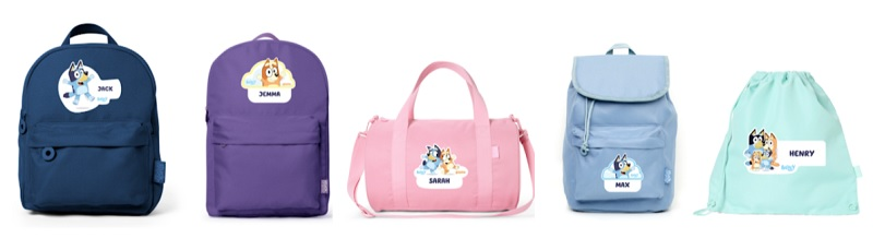 bluey personalised backpacks and bags from stuck on you