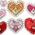 Free Printable Hearts with a Bow and Diamonds Clipart.