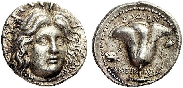 Ασημένιο αρχαιοελληνικό ροδιακό τετράδραχμο. Στον εμπροσθότυπο η κεφαλή του θεού Ήλιου με ακτίνες περιμετρικά. Στον οπισθότυπο ρόδο με πλώρη πλοίου στα αριστερά και άνθος δεξιά. Περίπου 229 - 205 π. Χ. Επιγραφή ΡΟΔΙΩΝ και ΑΜΕΙΝΙΑΣ.