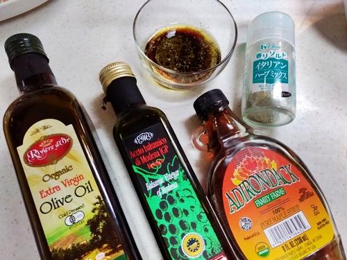 オーガニック オリーブオイル・バルサミコ酢・メイプルシロップで作る無添加のドレッシング