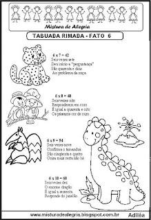 Tabuada rimada e ilustrada fato 6