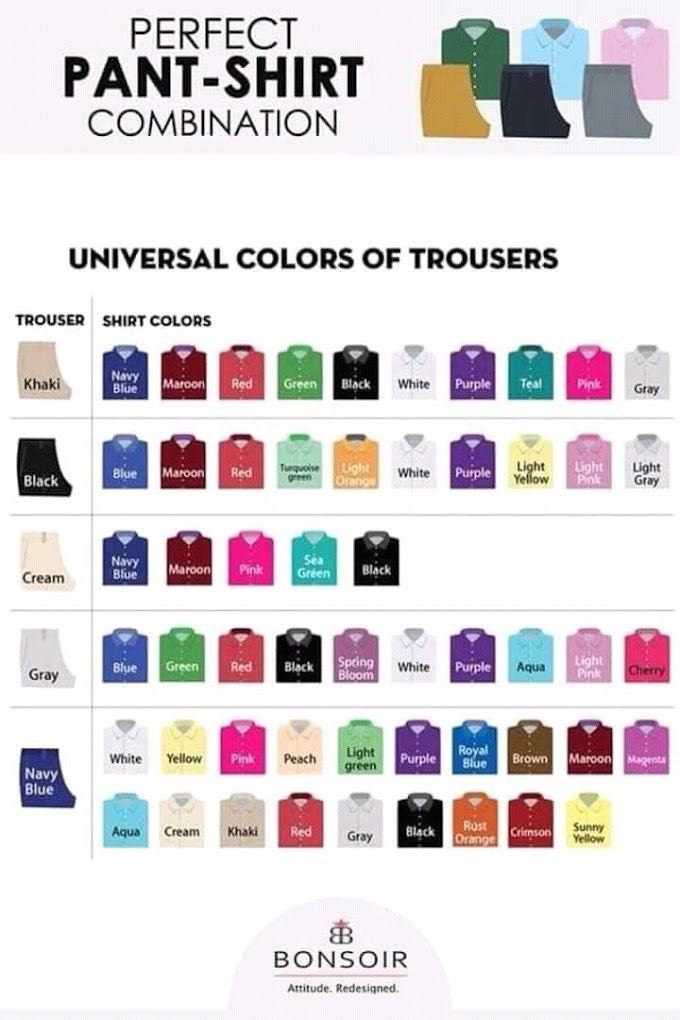 Padanan Warna Lengkap Pakaian Lelaki Termasuk Seluar, Kemeja, Suit Dan Kasut