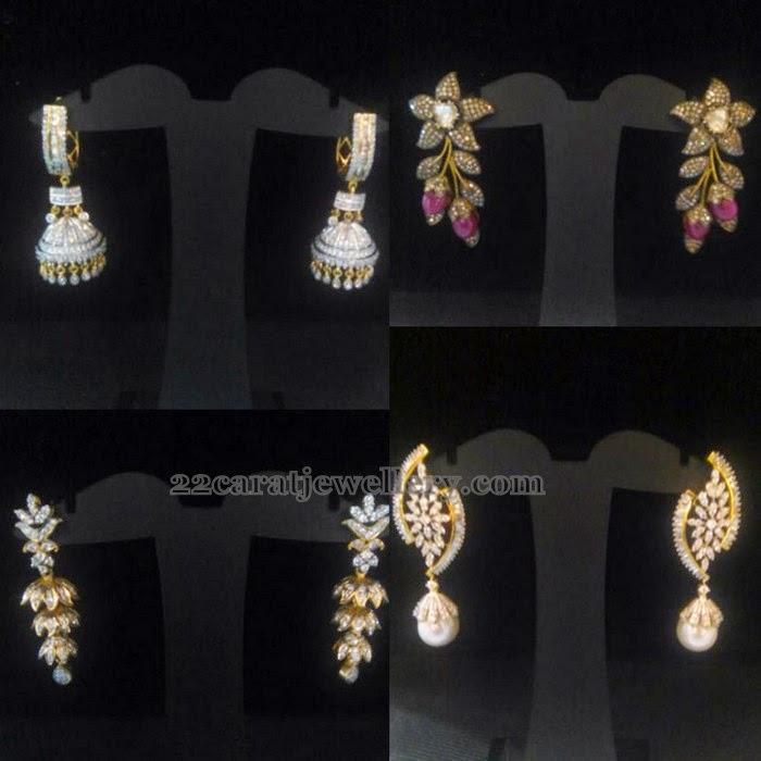Simple Diamond Earrings Jewellery Designs