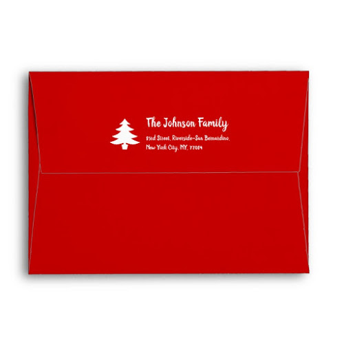Simple Red Christmas Party Family Holiday Mailing Envelope