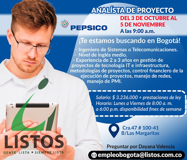 Empleo como Analista de Proyectos - Ing,Sistemas en Bogota