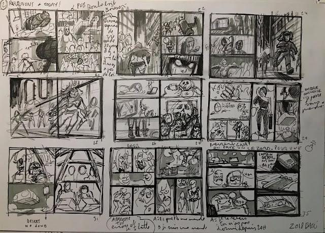 crayonné du storyboard de Captain Death