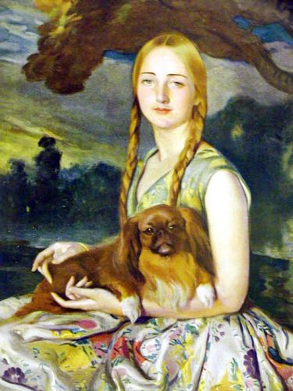La rubia del pequinés, Victor Moya Calvo, Pintor español, Pintores españoles, Retratos de Victor Moya Calvo, Pintores Valencianos