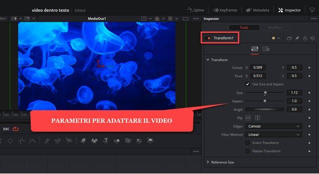 strumento transform per posizionare il video