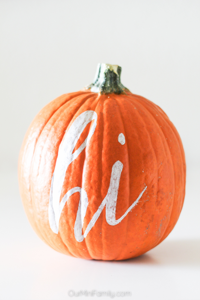 "Painted ""hi"" pumpkin"