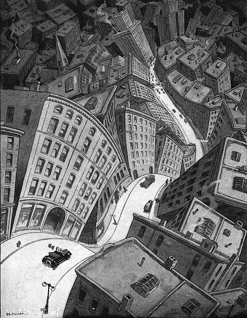 a 1928 illustration of urban vertigo by R.B. Fuller