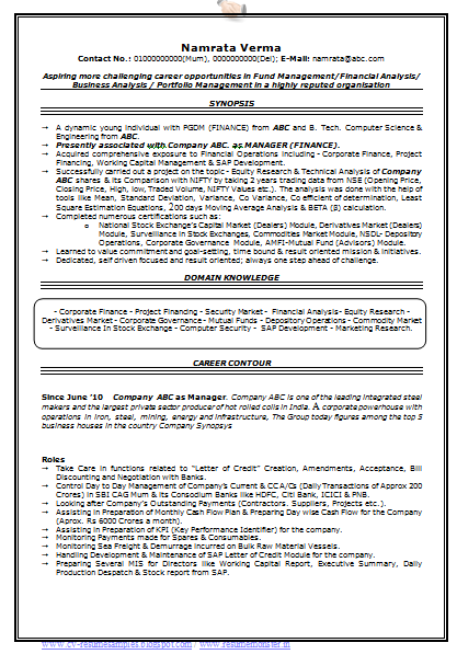 Resume Working Capital – Format of Working Capital