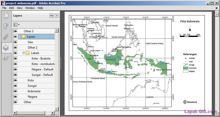 Cara Ekspor Peta ke format PDF yang Support Layer