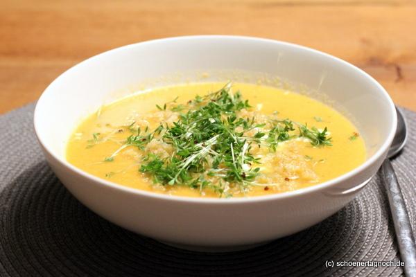 Linsen-Karotten-Suppe mit Quinoa, Feta und Kresse