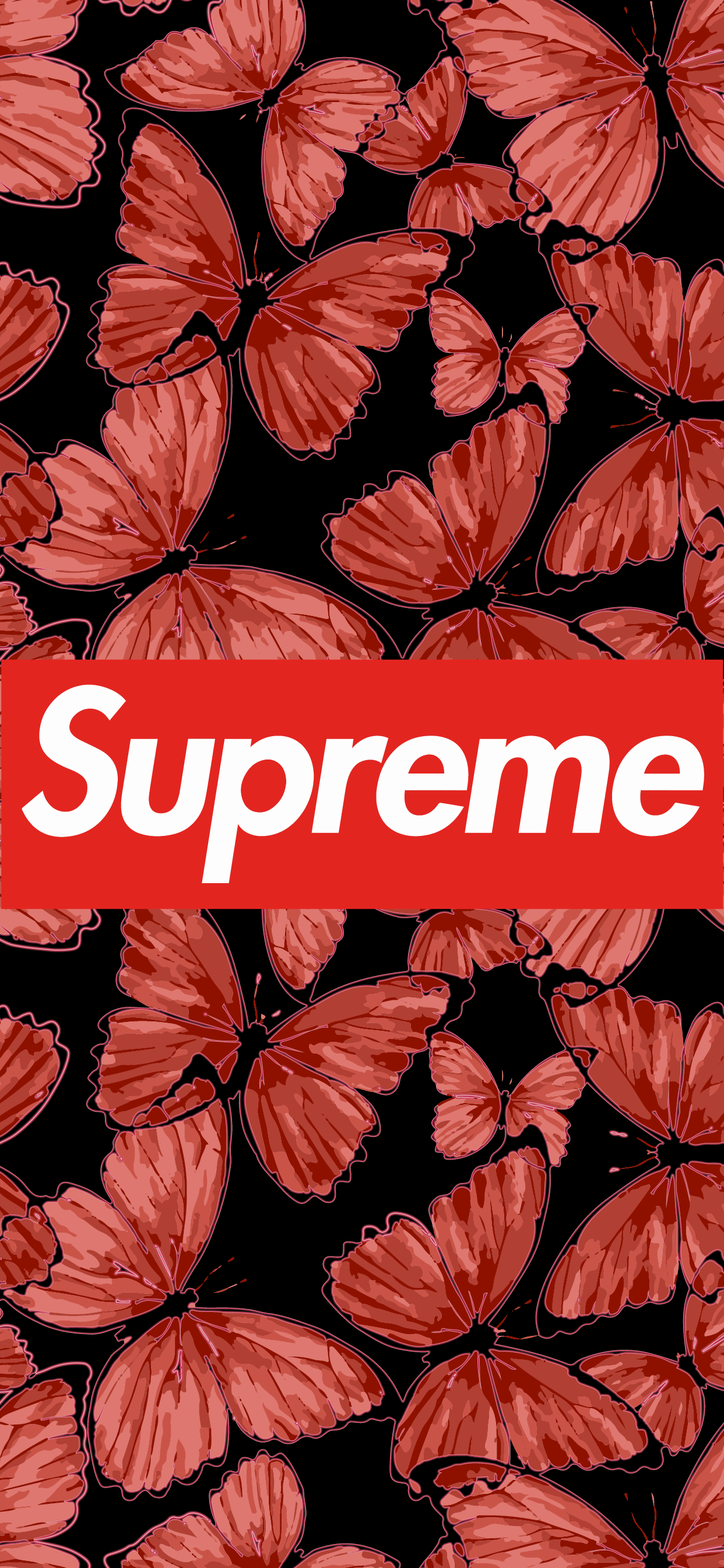 Supreme logo with red butterfly in the background aesthetic
