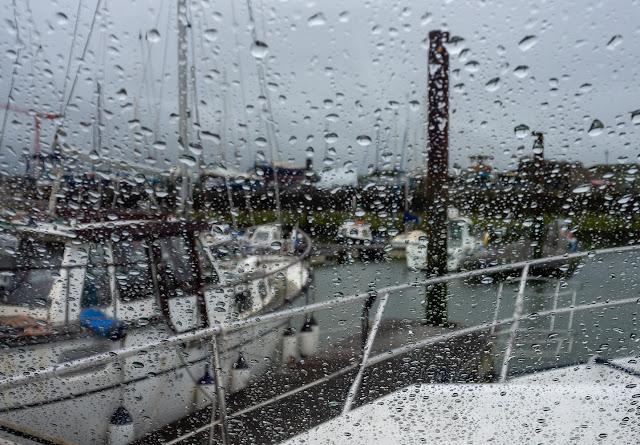 Photo of rain yesterday (Thursday) afternoon at Maryport Marina