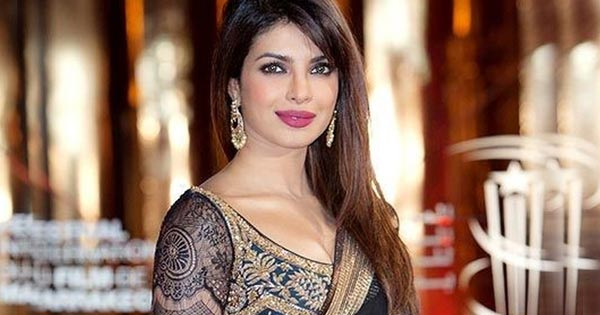 priyanka chopra best photos in black saree sleeveless backless blouse