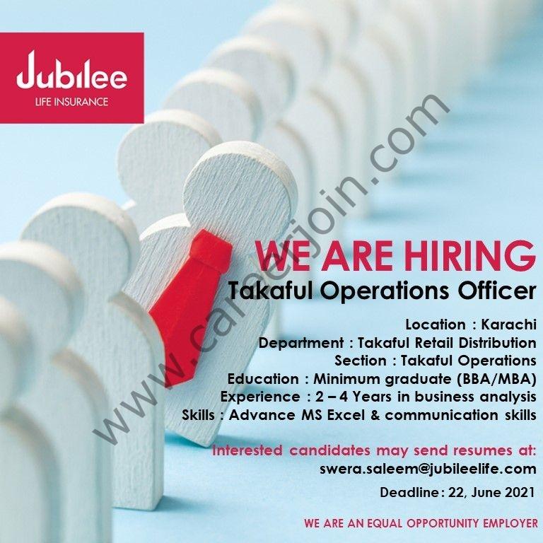 Jubilee Life Insurance Company Ltd Jobs 2021 in Pakistan ForcTakaful Operations Officer - Apply via swera.saleem@jubileelife.com