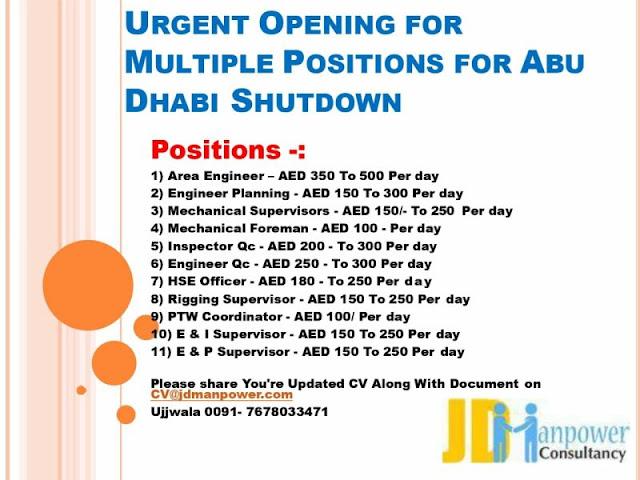 UAE Jobs, Abu Dhabi Jobs, JD Manpower Consultancy, Oil & Gas Jobs, Shutdown Jobs, Area Engineer, Planning Engineer, Mechanical Supervisor, HSE Officer, PTW Coordinator, E&I Supervisor