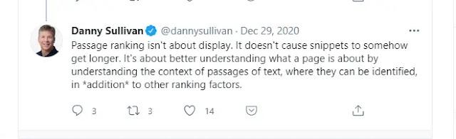 Tweet of Danny Sullivan about passage index