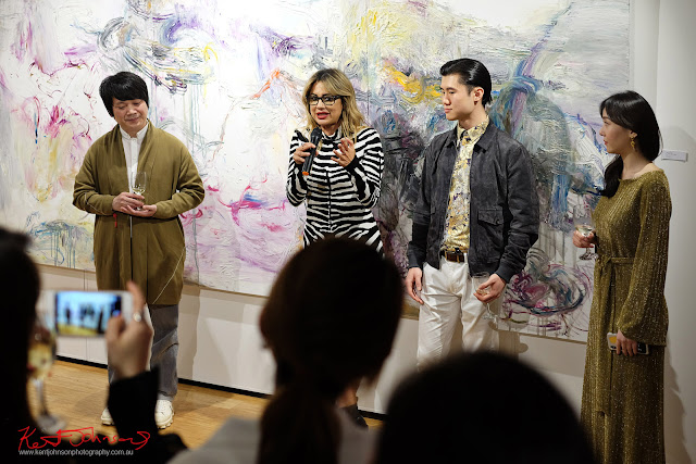 An impromptu speech - Beyond the Light - Chinese Artist He Zige - Photos By Kent Johnson for Street Fashion Sydney.