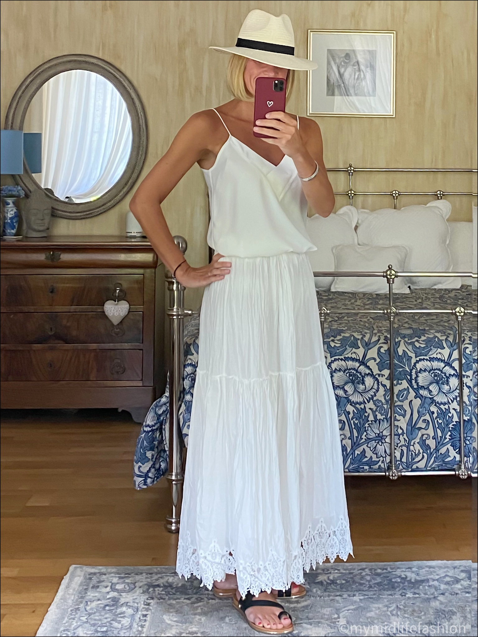my midlife fashion, Zara Panama hat, mango camisole, Zara embroidered maxi skirt, carvela karafe sandals